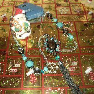 New Vera Wang Turquoise/Black Tassel Necklace